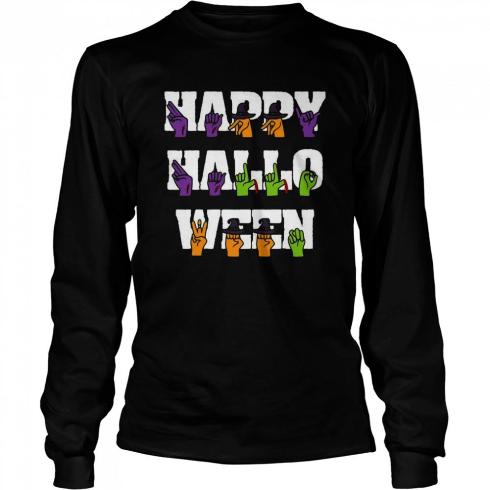 American Sign Language Pride Asl Halloween Long Sleeved T-shirt