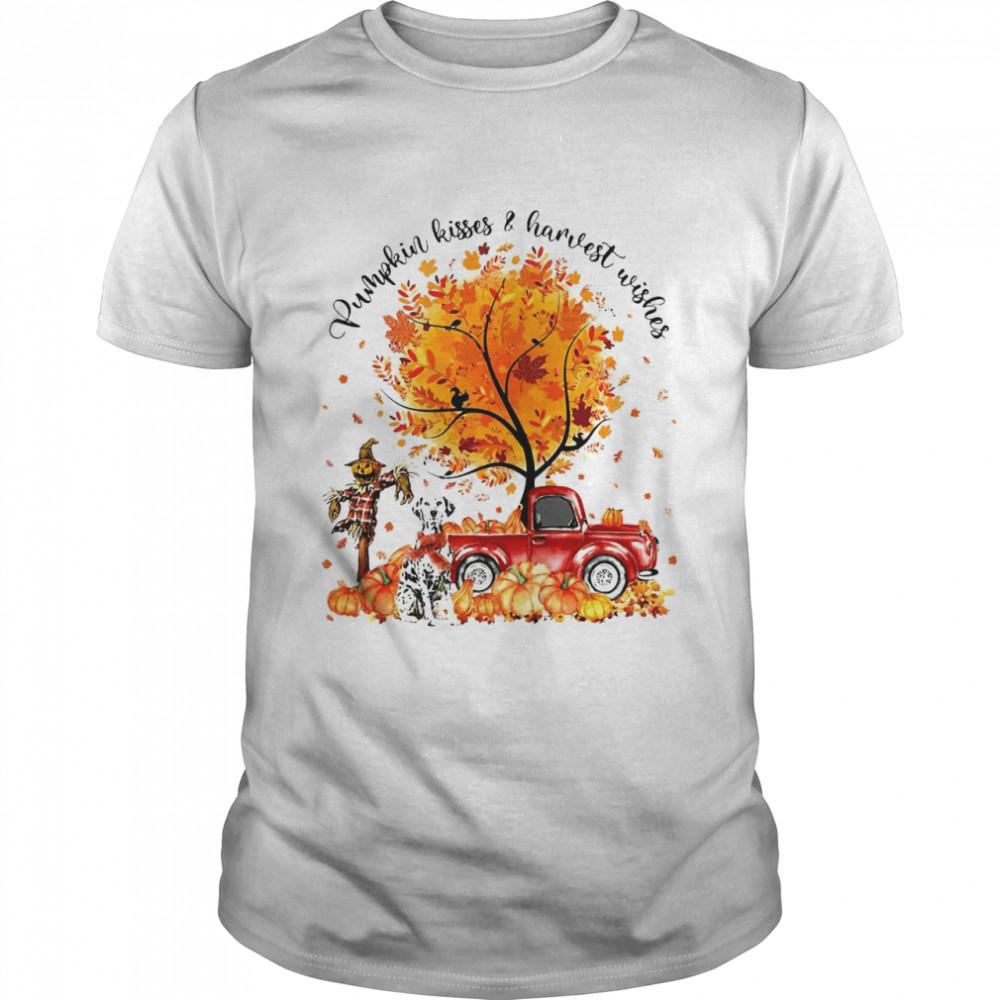 Dalmatian Dog Pumpkin Kisses And Harvest Wishes Halloween T-shirt