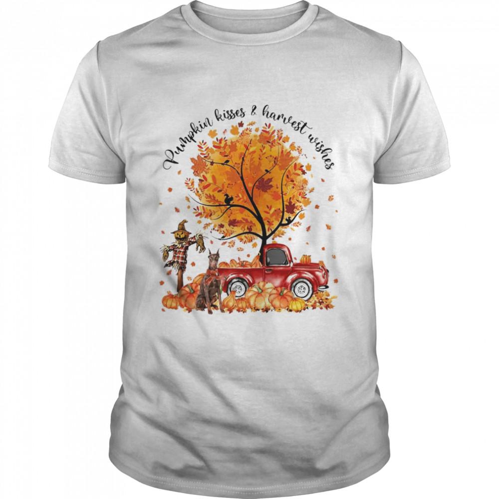 Doberman Dog Pumpkin Kisses And Harvest Wishes Halloween T-shirt