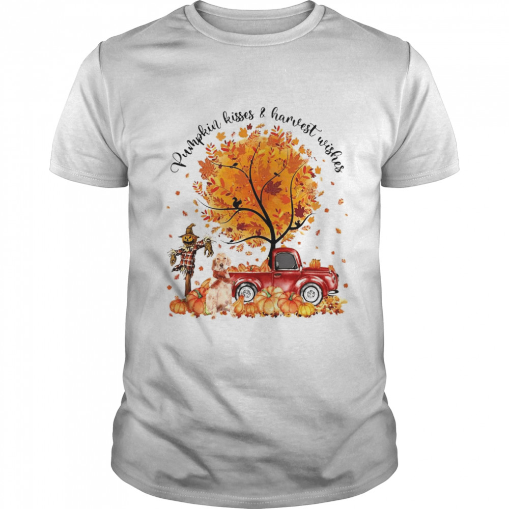 English Setter Pumpkin Kisses And Harvest Wishes Halloween T-shirt