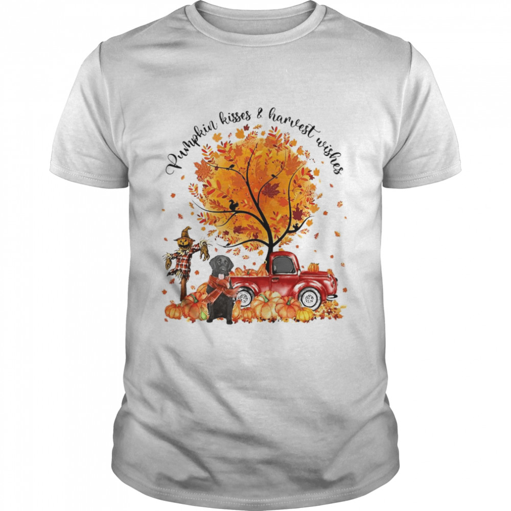Flat Coated Pumpkin Kisses And Harvest Wishes Halloween T-shirt