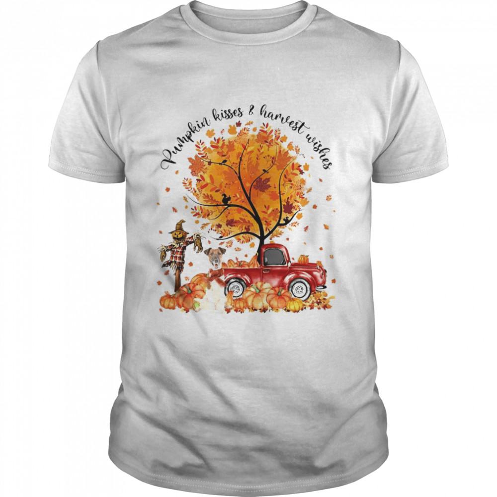 Fox Terrier Pumpkin Kisses And Harvest Wishes Halloween T-shirt