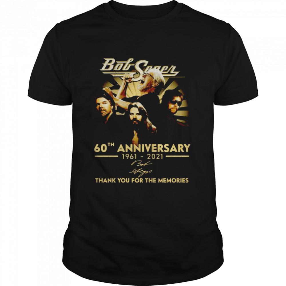 Official Bob Seger 60th anniversary 1961 2021 Signature Thank You Tee Shirt