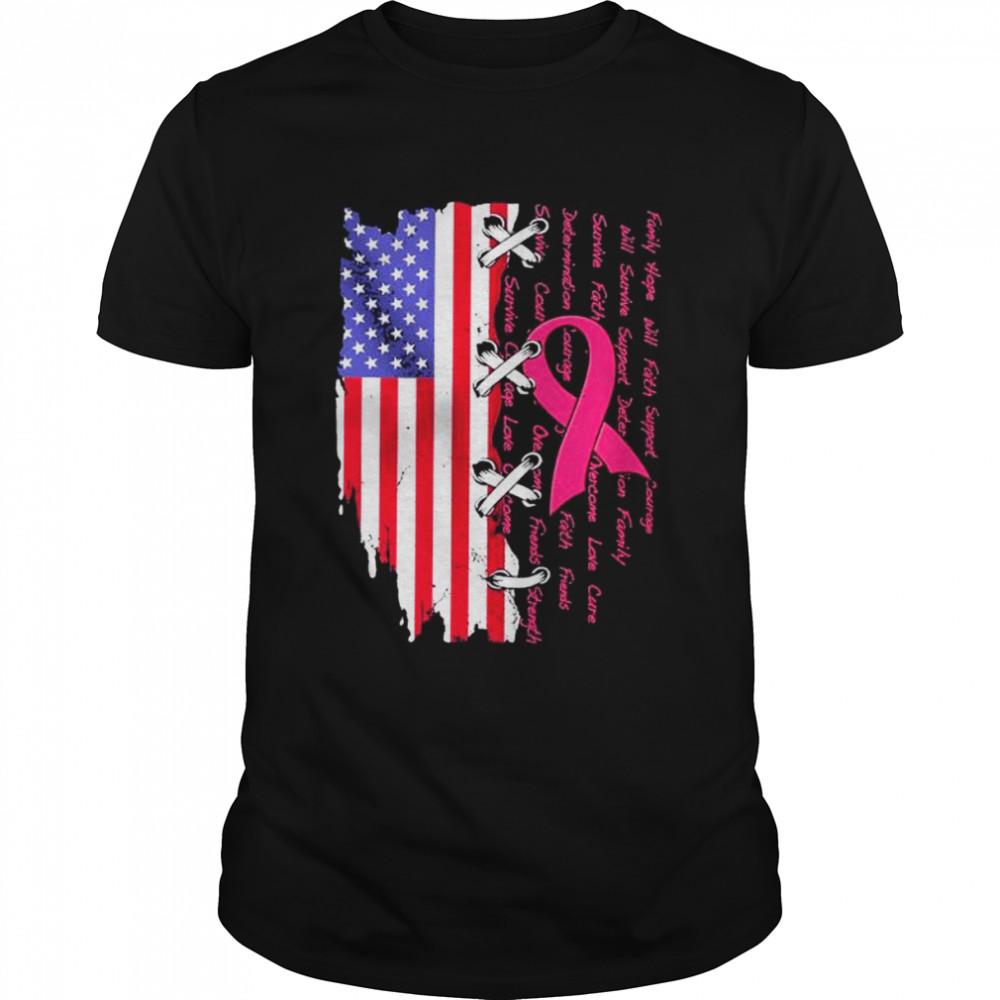 Trending Breast cancer awareness family hope will faith support American flag shirt