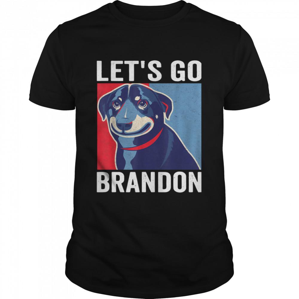 Vintage Smiling Dog Let's Go Brandon Meme Shirt